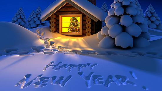 Поздравление с новым годом на английском языке в открытке