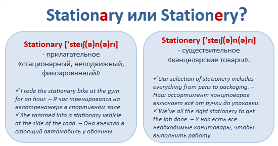 Confusing words. Stationary или Stationery